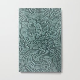 Sagey Teal Tooled Leather Metal Print