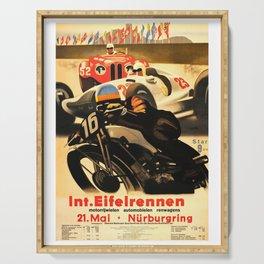 Nurburgring Race, vintage poster Serving Tray