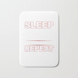 Eat Sleep Barbell Repeat Workout Weightlifters Bodybuilding Weightlifting Gift Bath Mat