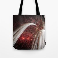 fireworks Tote Bags featuring Fireworks by Carolina Jaramillo