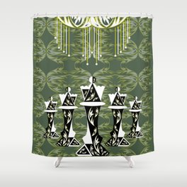 Green and Gold Embellished Queens Shower Curtain