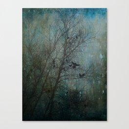 Blackbird Convention on a Snowy Day Canvas Print