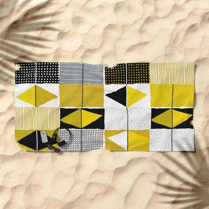 diamond pattern 034 Beach Towel