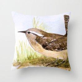 Wren Woodland Bird Nature Art Throw Pillow