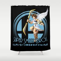 super smash bros Shower Curtains featuring Pit - Super Smash Bros. by Donkey Inferno