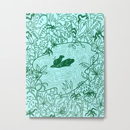 Capybara Jungle Metal Print