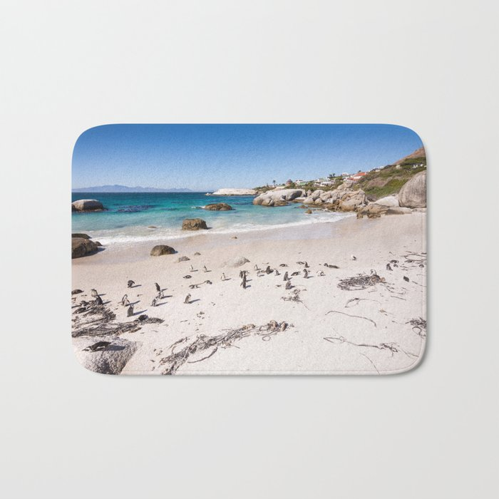 Penguins on Boulders Beach in Cape Town, South Africa Bath Mat