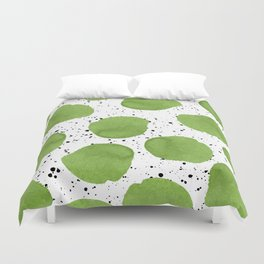 Modern green watercolor polka dots black brushstrokes greenery color of the year pattern Duvet Cover