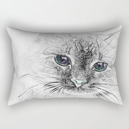 Siberian Kitty Cat Laying on the Marble Slab Rectangular Pillow