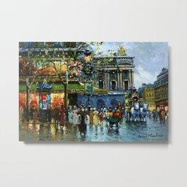 Paris Cafes and Opera House, Autumn, France landscape painting Metal Print