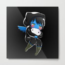 Fuzzy Chibi Luc (Expression 2) w/ Black Background (no cloud) Metal Print