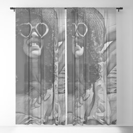 Girl on the beach ( black and white ) Sheer Curtain