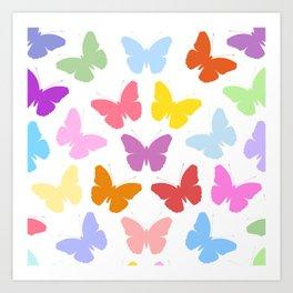 Multicoloured Butterflies Pattern Art Print