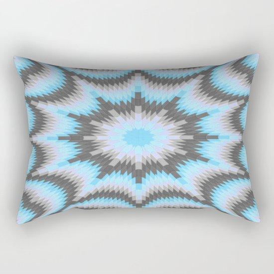 Geometric Burst Blue & Gray Rectangular Pillow