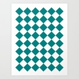 Large Diamonds - White and Dark Cyan Art Print