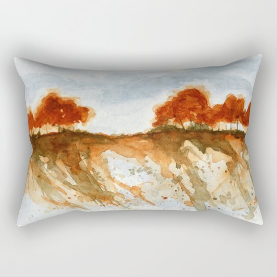 Firebranch Ridge, Watercolor Abstract Landscape Art Rectangular Pillow