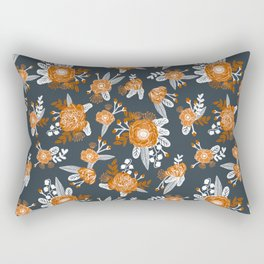 Texas longhorns orange and white university college texan football floral pattern Rectangular Pillow