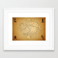 the last airbender Framed Art Prints featuring Avatar Last Airbender Map by KewlZidane