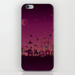 colorful circus carnival traveling in one row at night iPhone Skin