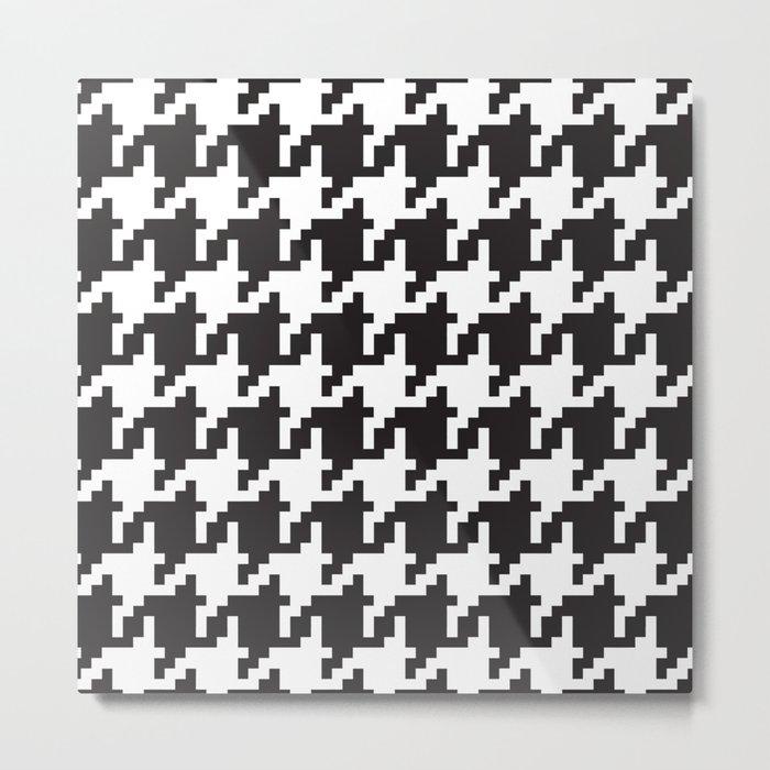 Houndstooth - Black & White Metal Print