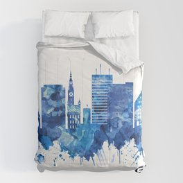 Gdansk Poland Skyline Blue Comforters