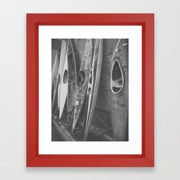 Black & White Kayaks Framed Art Print