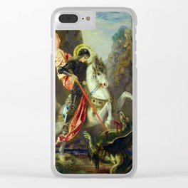 """Gustave Moreau """"St. George and the Dragon (1889)"""" Clear iPhone Case"""