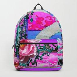 PEONY FLOWERS  & UNICORN FANTASY PURPLE  ART Backpack