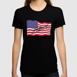 John Hancock Declaration of Independence Signature USA Flag print T-shirt