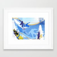 snowboarding Framed Art Prints featuring Snowboarding by Robin Curtiss
