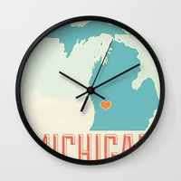 michigan Wall Clocks featuring Michigan by Zac Sturgeon