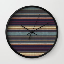 """Blue lines burlap"" Wall Clock"