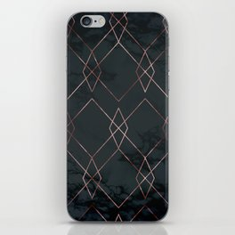 Modern Deco Rose Gold and Marble Geometric Dark iPhone Skin