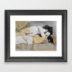 lovers on a patterned mattress Framed Art Print