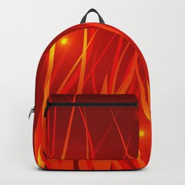 Flames from the fire and spark. Backpack