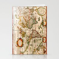 vintage map Stationery Cards featuring Vintage Map by Diego Tirigall