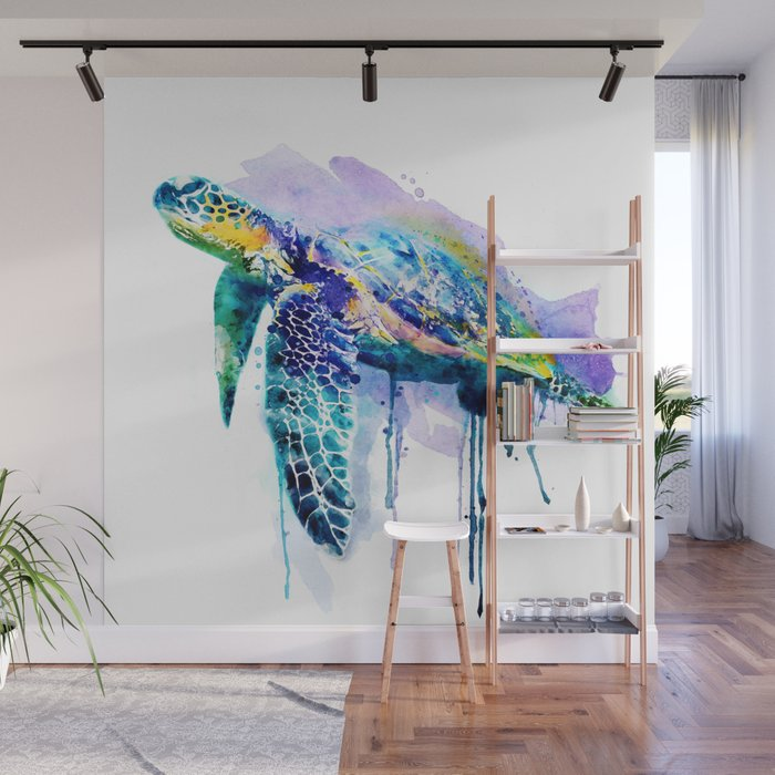 Watercolor Sea Turtle Wall Mural By