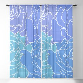 4 Blue Flowers Sheer Curtain