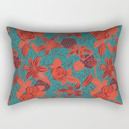 Linocut look in blue with roses Rectangular Pillow