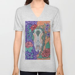 Day Of The Dead Cow (Purple & Orange) Unisex V-Neck