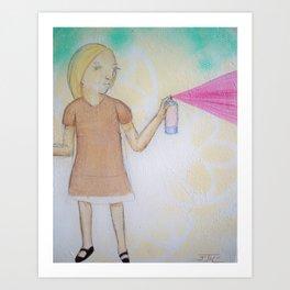 Spray Paint Girl Art Print