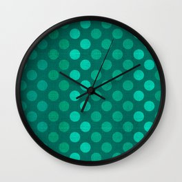 """Teal Burlap Texture & Polka Dots"" Wall Clock"