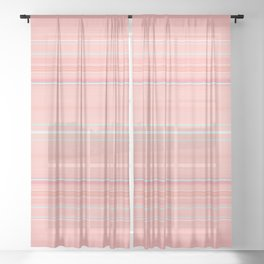 Coral Stripe with Slight Teal Accent Sheer Curtain