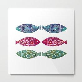 Fish Watercolor Pattern Metal Print