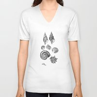 shells V-neck T-shirts featuring shells by JadeApple