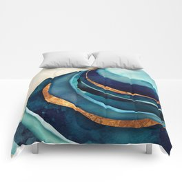 Abstract Blue with Gold Comforters