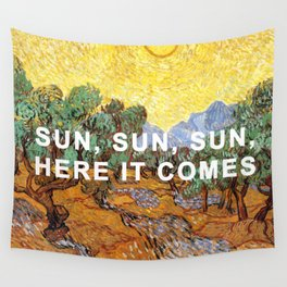 Here Comes the Yellow Sky and Sun Wall Tapestry