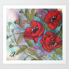 Red Poppy Triplets by SK Sartell Art Print