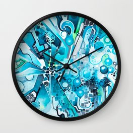 Water Crystals - Abstract Geometric Watercolor Painting Wall Clock
