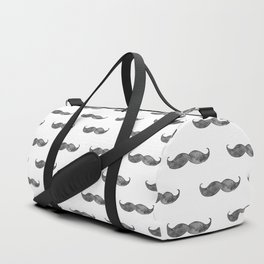 Black mustache watercolor. Mens illustration. Hipster pattern. Gray art Duffle Bag